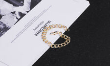 18K YELLOW GOLD FILL 9MM DOUBLE ROUND CURB 19-20CM BRACELET LADIES GIRL MAN