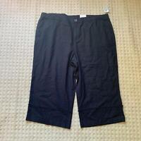 Style&Co. Plus 20W 18W 24W Capri Pants Black High Cuffed Mid Rise Linen Womens