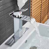 Chrome Bathroom Sink Faucet Waterfall Extra Large Rectangular Spout +10'' Cover