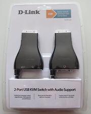 D-LINK KVM-221 KVM Switch 2 Port USB Audio VGA Monitor Keyboard Mouse 1.8m cable