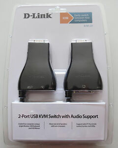 D-LINK KVM-221 KVM Switch 2 Port USB Audio VGA Monitor Keyboard Mouse 1.8m cable