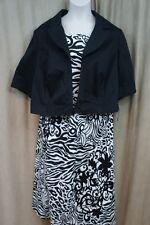 Le Bos Jacket Dress Woman Sz 22W Black White Animal Print Cotton Casual Cocktail
