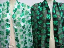 2 Pack Shamrock Scarf Set - Black & White Scarves with St Patrick's Day Clovers