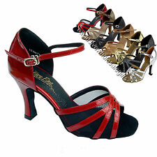 "Women's Salsa Ballroom Tango Satin Leather Dance Shoes 2.5"" / 3"" Very Fine 6027"