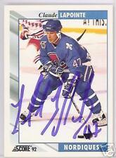 CLAUDE LaPOINTE Quebec Nordiques 1992 SCORE    AUTOGRAPHED HOCKEY CARD JSA