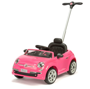 Xootz, Fiat Kids Ride-On Car, Official 500 with Push Handle and Sounds, Pink