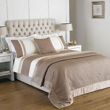QUILTED FAUX SILK RIBBON GOLD CREAM SINGLE COTTON BLEND DUVET COMFORTER COVER