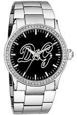Dolce and Gabbana DW0845 Women's Silver Tone Case/Band Black Dial Watch