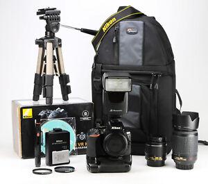 Nikon D5600 Camera Dual Lens Kit Boxed & Grip AF-P 18-55mm VR + AF-S 55-200mm VR