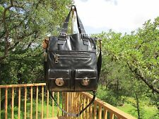 Marc Jacobs Stella Black Leather Tote Crossbody Bag Shoulder Hand Purse Italy