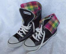 Airwalk High Top Black Canvas Sneaker w/Plaid Tennis Shoes Sz 8.5 Euro 40.5