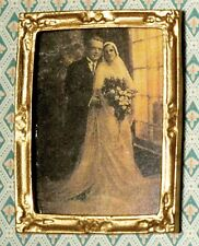 1:12 Scale Gold Framed Picture Of A Bride & Groom Tumdee Dolls House Wedding 323