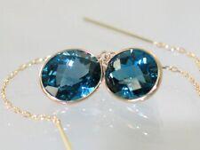 London Blue Topaz, 14k Gold Post Earrings, E205