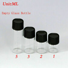 Whole Sale Small Bottle 1ml-5ml Clear Glass Bottles Vials with Plastic Lid Hot