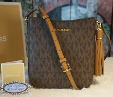 NWT MICHAEL KORS BEDFORD Tassel Messenger/Crossbody Bag BROWN/ACORN PVC $218