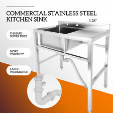 1 Compartment Stainless Steel Prep Sink Utility Kitchen Sink W Drain Board os