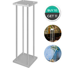 Wedding Flower Stand Metal Vase Stand with Plate 11pcs Silver Floor Metal Column