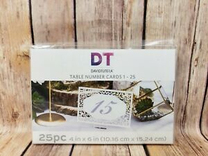 DT By David Tutera Table Number Cards 1-25 Sz 4 x 6 Wedding 25 Piece Die Cut