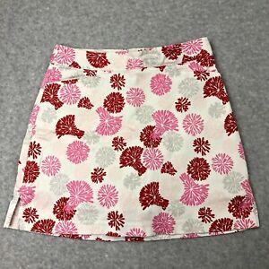 "Lady Hagen Women's Skirt Golf sz 2 White MultiColor Flowers Tennis Pockets 16"""