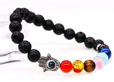 Ladies Men Hamsa Fatima Hand Evil Eye Protection 7 Chakra Crystal Stone Bracelet