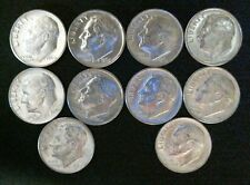 10 - 1964 P Roosevelt Dime 90% Silver Uncirculated US Coins