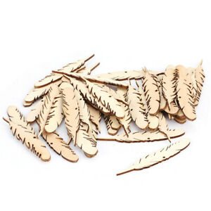 50pcs Cut Wood Feather Embellishment Wooden Shape Craft Wedding Decor +String