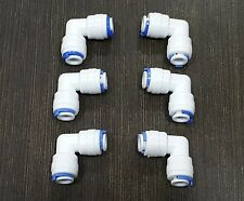 """1/4"""" Elbow Pipe Connectors Both Side PushFit For Eureka RO Water Filter Purifier"""