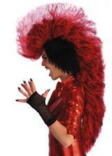 Deluxe Red Devil Mohawk Wig Punk Fancy Dress Halloween Costume Demon Rocker