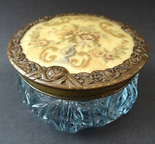 Vintage Trinket Box 30s Petit Point Brass Embroidered Glass Jar Dressing Table