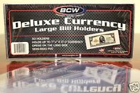 50 BCW DELUXE LARGE CURRENCY Dollar Bill Banknote Holder Semi Rigid 9 MIL Sleeve