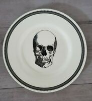 NEW (2) Royal Stafford SKULL Salad Plates Halloween Home Decor