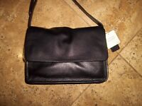 Clarks 'Treen River' medium black leather shoulder handbag new