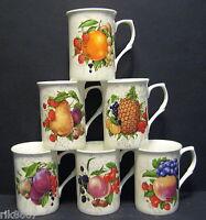 Set Of 6 Fruits (100 mm print) Fine Bone China Mugs Cups Beakers
