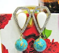Diamond Gemstone Stud Earrings Jewelry. Fabulous White Agate With American