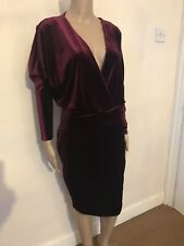 Boohoo Size 10 Velvet Dress, Burgundy, Low Cut Top Fitted Pencil Skirt.