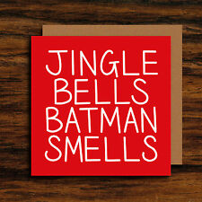 Funny Christmas Card - Batman Card - Jingle Bells Lyrics Xmas Card - Humour Xmas
