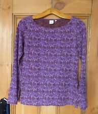 Lovely Oral Kiely Purple Patterned Long Sleeved Top. Size XS. VGC.