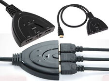1080P 3 puertos HDMI Cable Divisor Multi conmutador Switcher HUB Caja de TV LCD HDTV 3D Reino Unido