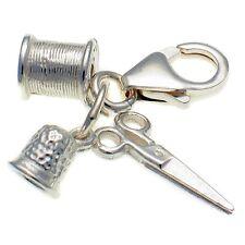Cucito 3 parte Clip Charm, DITALE, Bobbin e forbici. Sterling 925 argento.