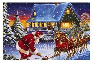 Large Quality Festive Christmas Santa Scene Light Up LED Canvas/Picture 60x40cm