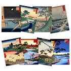 Japanese Woodblock Utagawa Hiroshige Ukiyo-e Unframed Art Print Poster Pack of 8