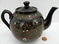Teapot Black England Floral Dot Flowers 3.5 Cup Porcelain Hand Painted Vintage