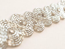 """Densely Hand-Beaded Trim. Clear with Rhinestones. Reflective. 1¼"""" Wide."""