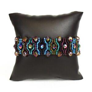 Hand Made Glass Crystal Eye Bracelet Desert Sunset Magnetic Clasp Artisan Piece