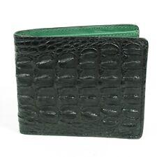 Real Black Alligator Crocodile Leather Back skin Men Bi-fold Slim Wallet.