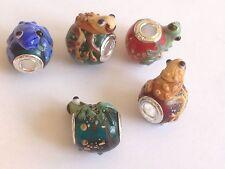 Frosch perlen Sterlingsilber einzeln core lampwork set mit FÜNF