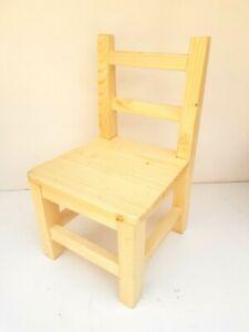 Wooden chair handmade pinewood stepping stool kids chair