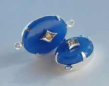 VINTAGE 2 OVAL GLASS CONNECTOR BEADS 13x18 POWDER BLUE RHINESTONE CENTER SILVER
