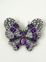 Vintage Butterfly Brooch Pin Purple Sparkly Rhinestone Marcasite Pewter Tone