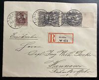 1920 Alt Ukta Registered Cover to Hanover Germany Versailles Treaty Overprints